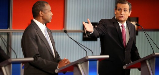MILWAUKEE, WI - NOVEMBER 10:  Republican presidential candidate Donald Trump (L) and Ben Carson (C) looks on as U.S. Sen. Ted Cruz (R-TX) speaks during the Republican Presidential Debate sponsored by Fox Business and the Wall Street Journal at the Milwaukee Theatre on November 10, 2015 in Milwaukee, Wisconsin. The fourth Republican debate is held in two parts, one main debate for the top eight candidates, and another for four other candidates lower in the current polls.  (Photo by Scott Olson/Getty Images)