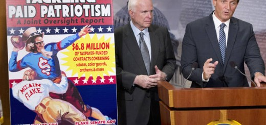 """Sen. John McCain, R-Ariz., left, and Sen. Jeff Flake, R-Ariz., talk to reporters about """"paid patriotism"""" during a news conference on Capitol Hill in Washington, Wednesday, Nov. 4, 2015.The senator discussed a report on 'patriotism for profit' practices at pro sporting events, detailing 'widespread evidence of the Defense Department paying professional sports teams and leagues such as the NFL, MLB, and NHL to honor American soldiers at sporting events. (AP Photo/Manuel Balce Ceneta)"""