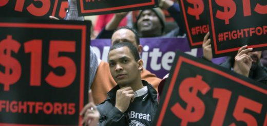 Supporters of a $15 minimum wage rally in the Legislative Office Building on Wednesday, Feb. 3, 2016, in Albany, N.Y. (AP Photo/Mike Groll)